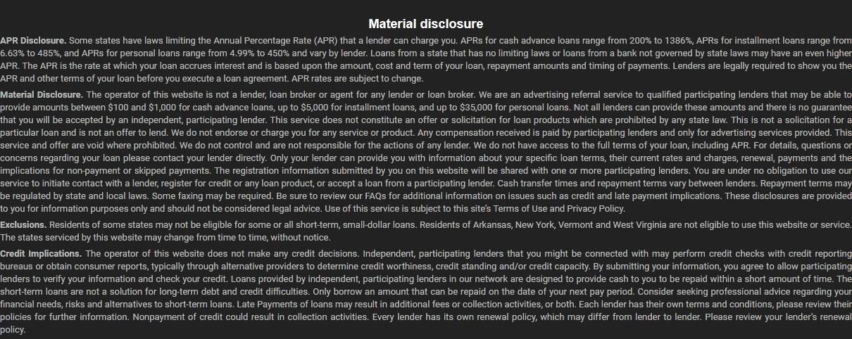 Material disclosure